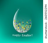 easter egg with flowers and... | Shutterstock .eps vector #260552294
