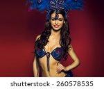 sensual brunette dancer wearing ... | Shutterstock . vector #260578535