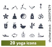 yoga and meditation icons ... | Shutterstock .eps vector #260597879