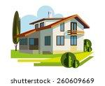 cottage   illustration 2   Shutterstock .eps vector #260609669