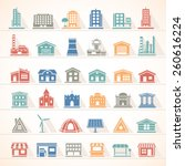 flat icons   buildings | Shutterstock .eps vector #260616224