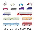illustrated set of pedestrian, road and public transport vehicles - stock vector