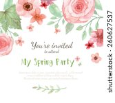 flower wedding invitation card  ... | Shutterstock .eps vector #260627537