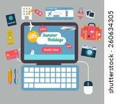 summer vacation booking online... | Shutterstock .eps vector #260634305