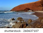 natural arch on legzira beach... | Shutterstock . vector #260637107