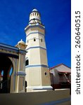 Small photo of Georgetown, Malaysia - January 8, 2008: Minaret resembling a lighthouse with loudspeakers at the 1808 Masjid Melayu Jamek Lebuh Aceh Pulau Pinang Mosque