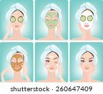 beautiful woman with facial...   Shutterstock .eps vector #260647409