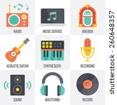 vector music icons set. flat...