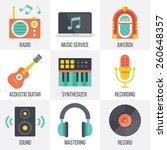 vector music icons set. flat...