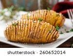 hasselback potatoes | Shutterstock . vector #260652014