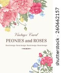 wedding card with roses and... | Shutterstock .eps vector #260662157