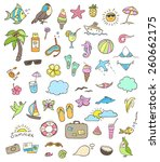 set of vector summer doodle... | Shutterstock .eps vector #260662175