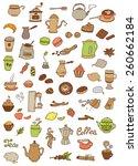 set of vector tea and coffee... | Shutterstock .eps vector #260662184