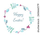 happy easter card. floral... | Shutterstock .eps vector #260666579