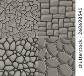 vector cartoon stone wall...   Shutterstock .eps vector #260698541