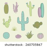hand drawn cactus icons | Shutterstock .eps vector #260705867