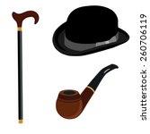 black gentleman bowler hat ...   Shutterstock .eps vector #260706119