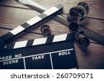 film  cinema  clapper. | Shutterstock . vector #260709071