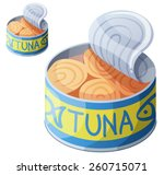 canned tuna fish isolated on... | Shutterstock .eps vector #260715071
