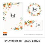 Stock vector vector set of invitation cards with watercolor flowers elements and calligraphic letters wedding 260715821