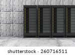 Cloud Computing, Storage Data and Information Concept. Modern Servers Rack in a Concrete Room Interior. 3D Rendering - stock photo