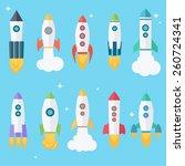 set of ten rocket or spaceship... | Shutterstock .eps vector #260724341