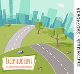 urban landscape with road and... | Shutterstock .eps vector #260740619