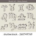zodiac doodles.  | Shutterstock .eps vector #260749769