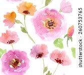 seamless vector watercolor... | Shutterstock .eps vector #260753765