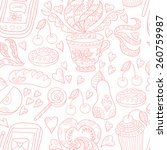 seamless vector tea and sweets... | Shutterstock .eps vector #260759987