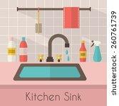 kitchen sink with kitchenware ... | Shutterstock .eps vector #260761739