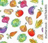 vector seamless pattern  doodle ... | Shutterstock .eps vector #260766401
