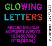 glowing alphabet   neon glow... | Shutterstock .eps vector #260771579