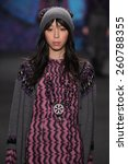 Small photo of NEW YORK, NY - FEBRUARY 18: Model Issa Lish walks the runway at the Anna Sui fashion show during MBFW Fall 2015 at Lincoln Center on February 18, 2015 in NYC