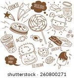 various snack with happy kids... | Shutterstock .eps vector #260800271