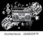 vintage tape recorder on... | Shutterstock .eps vector #260833979