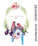 vector  watercolor  flowers ... | Shutterstock .eps vector #260834285