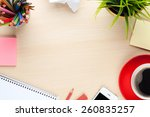 office desk table with supplies ... | Shutterstock . vector #260835257