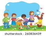 a group of happy cute kids... | Shutterstock . vector #260836439