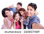 selfie   happy teenagers taking ... | Shutterstock . vector #260837489