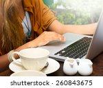 close up of a woman hands... | Shutterstock . vector #260843675