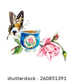 Tea Time. Butterfly. Cup With...