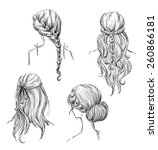 set of different hairstyles.... | Shutterstock .eps vector #260866181
