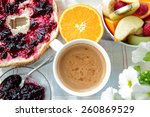 breakfast with bread with... | Shutterstock . vector #260869529