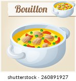 bouillon with meat and... | Shutterstock .eps vector #260891927