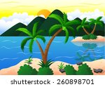 exotic beach and coconut island ... | Shutterstock .eps vector #260898701