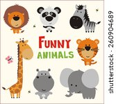 Funny Animals Set. Vector...