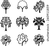 set of decorative trees | Shutterstock .eps vector #260911859