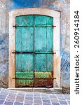 Turquoise Grunge Door. The...