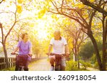 happy senior couple ride on... | Shutterstock . vector #260918054